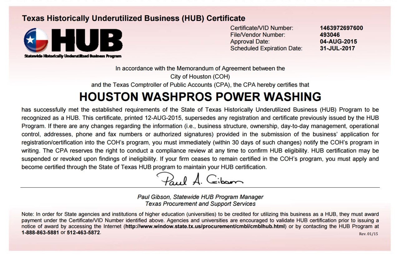 Certifications pressure washing houston pressure washing certifications 1betcityfo Choice Image